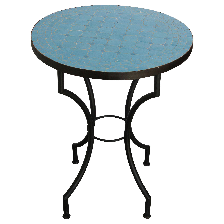 moroccan mosaic tiles blue color bistro table