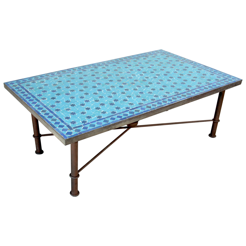 moroccan vintage mosaic blue tile rectangular coffee table
