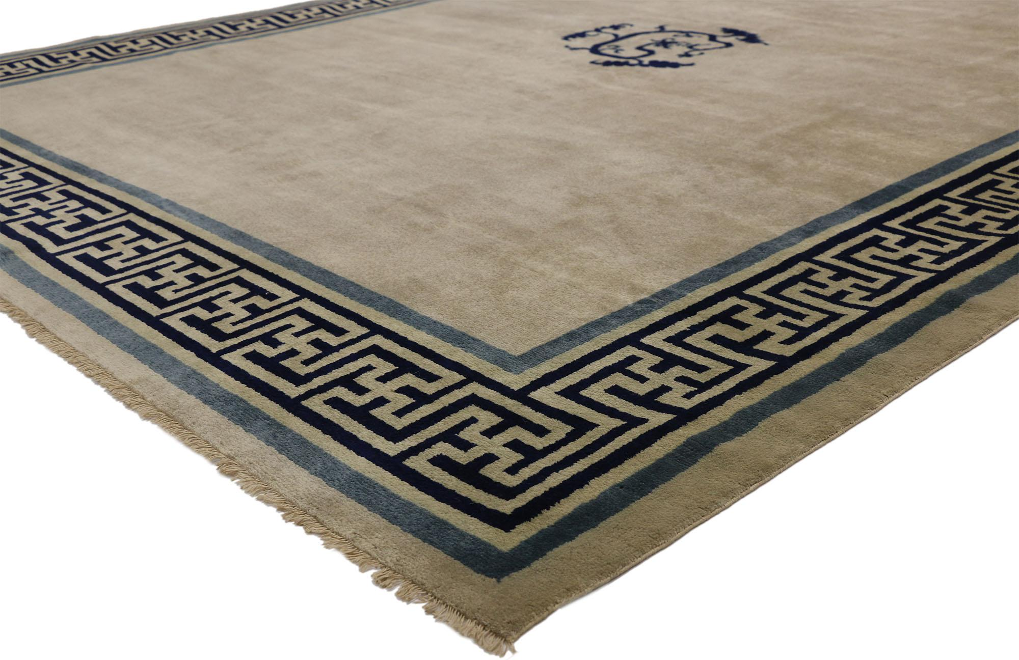 New Contemporary Chinese Area Rug With Modern Qing Style And Greek Key Border At 1stdibs