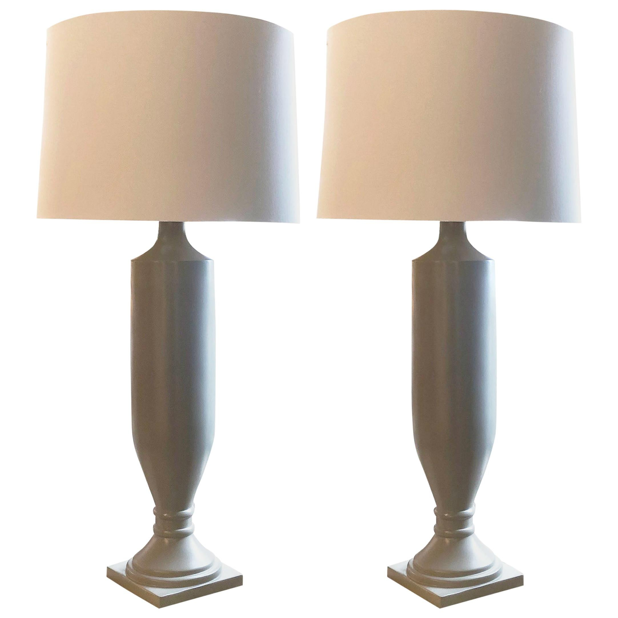 pair of barbara cosgrove tall estate lamps with shades