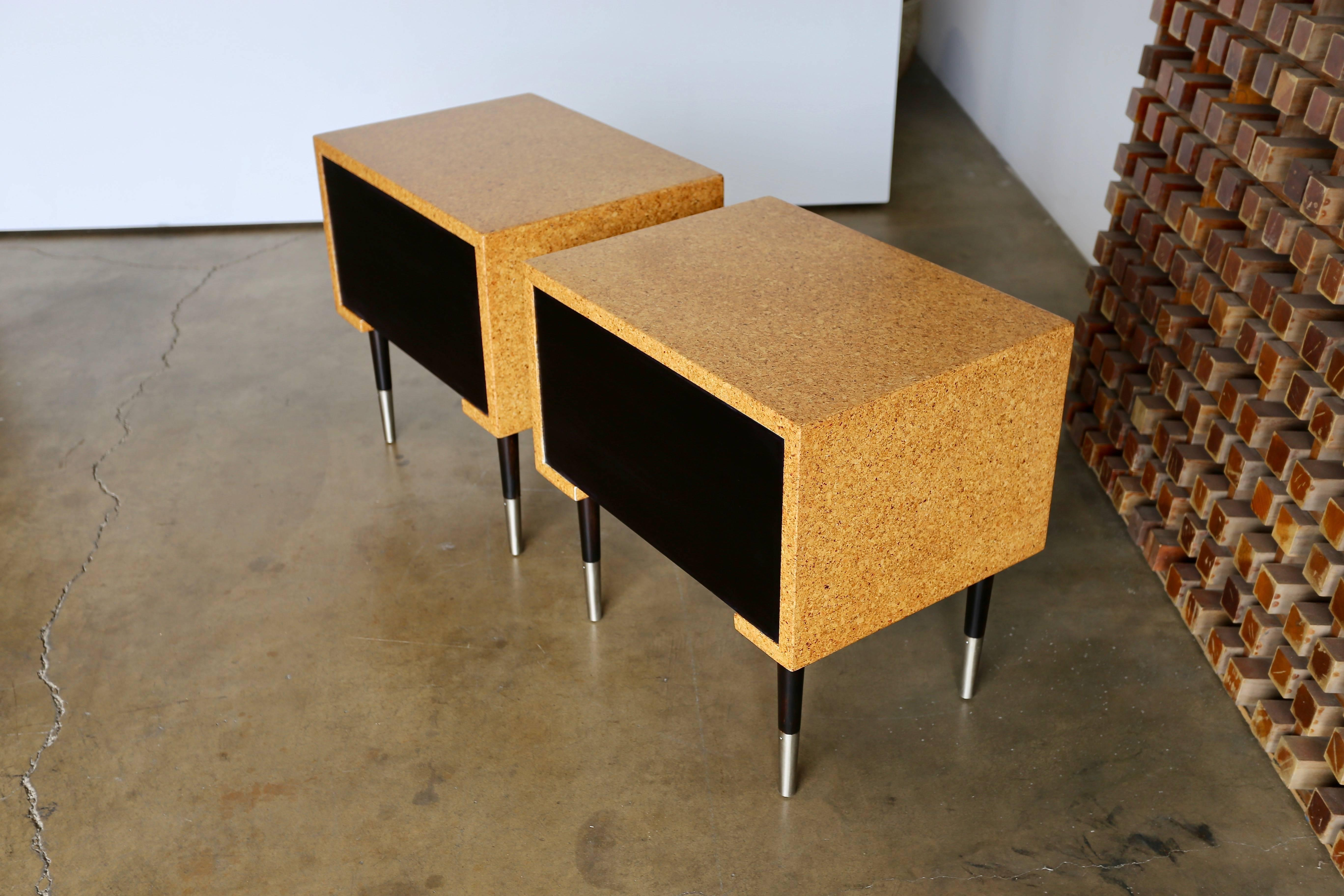Pair Of Cork Nightstands By Paul Frankl For Johnson