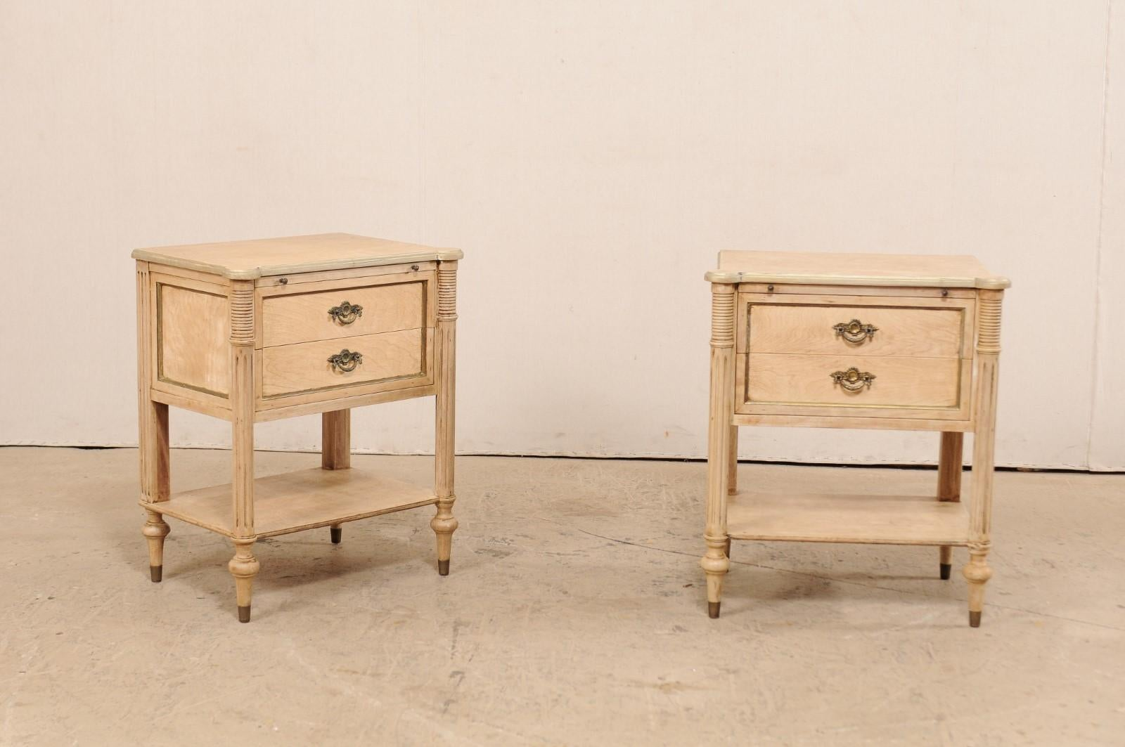 Pair Of Mid 20th Century American Carved Wood Nightstands