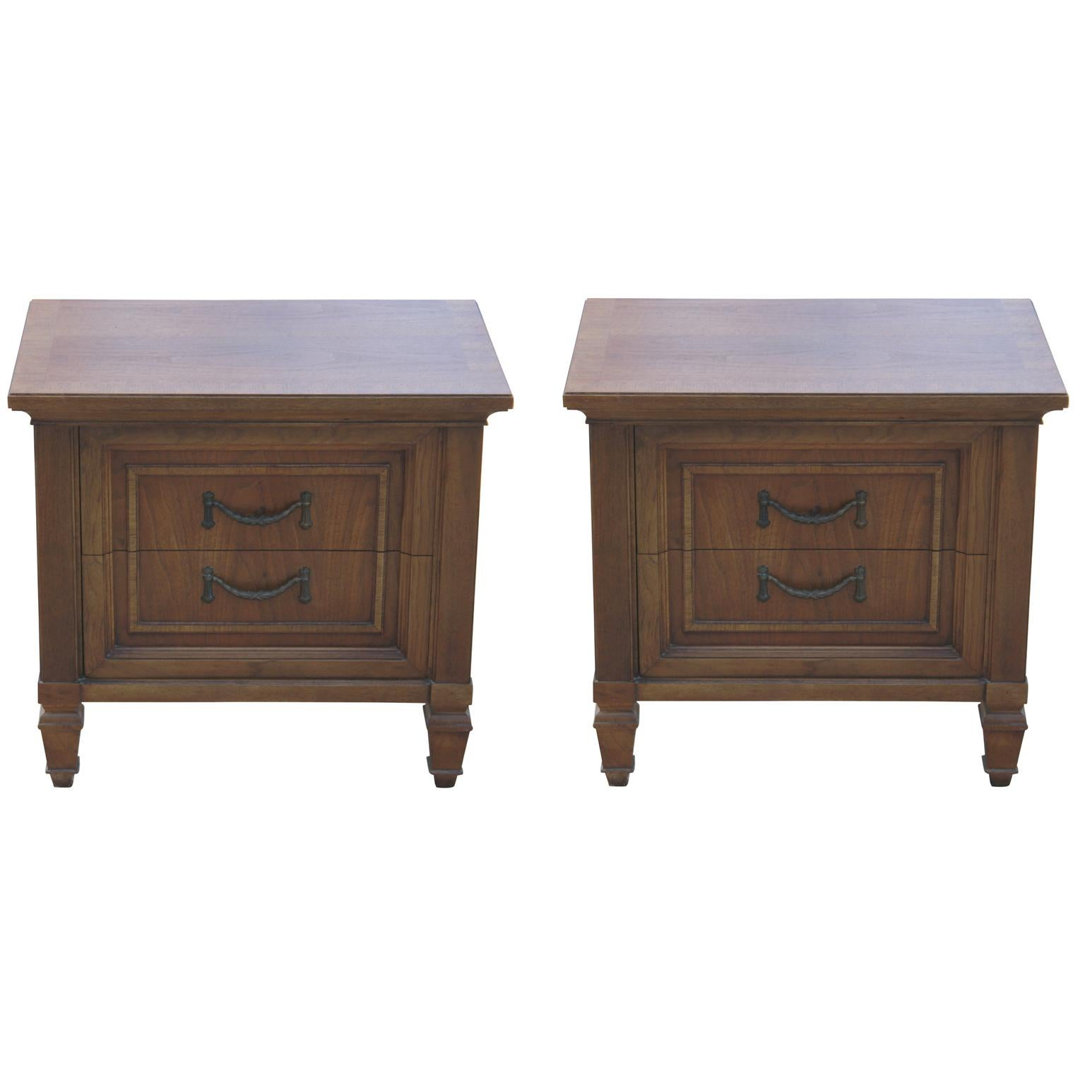 Pair Of Modern French Two Door Walnut Nightstands By Thomasville