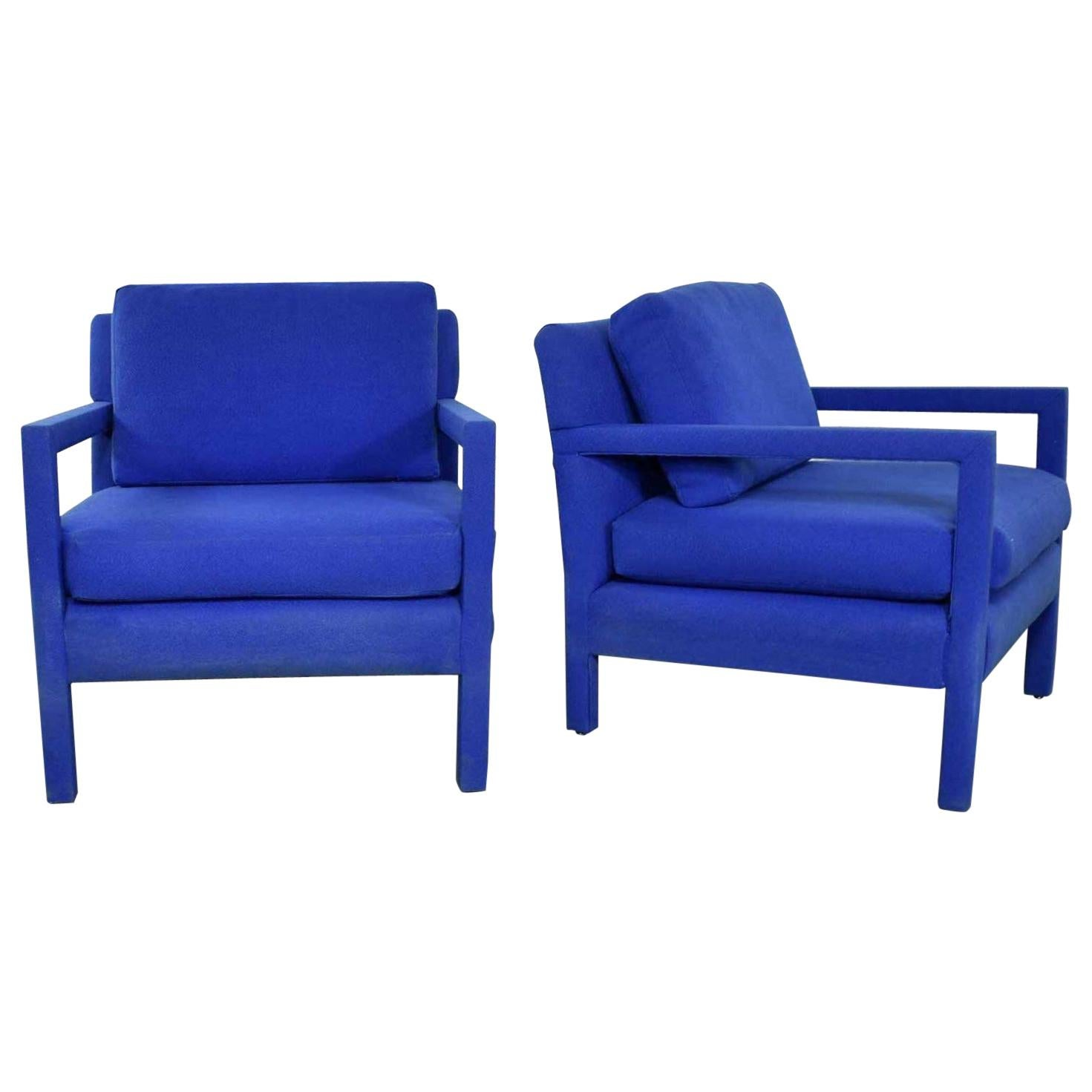 Pair Of Modern Parsons Style Club Chairs In Royal Blue After Milo Baughman