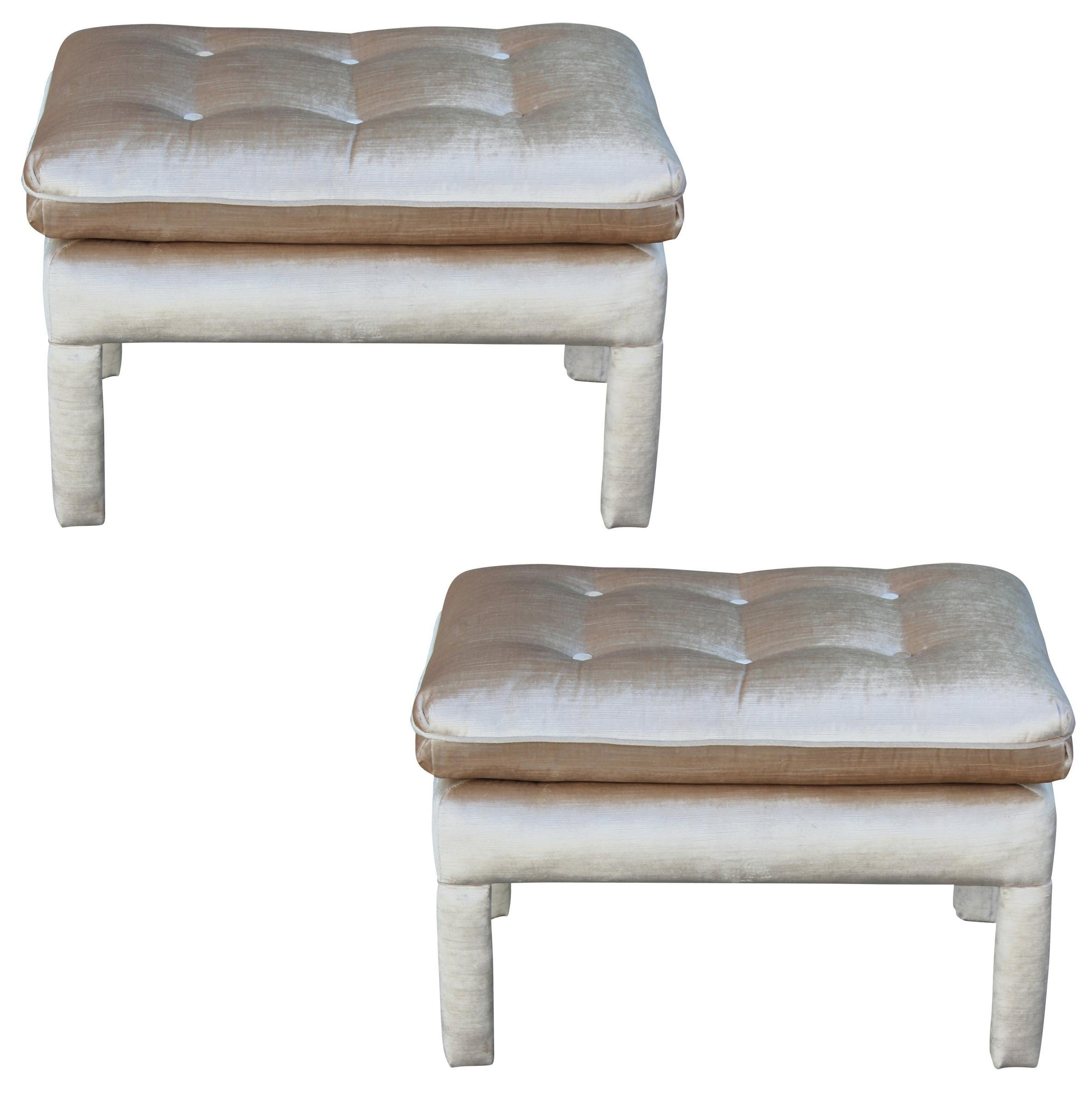 pair of modern parsons style pillow top stools ottoman in neutral velvet
