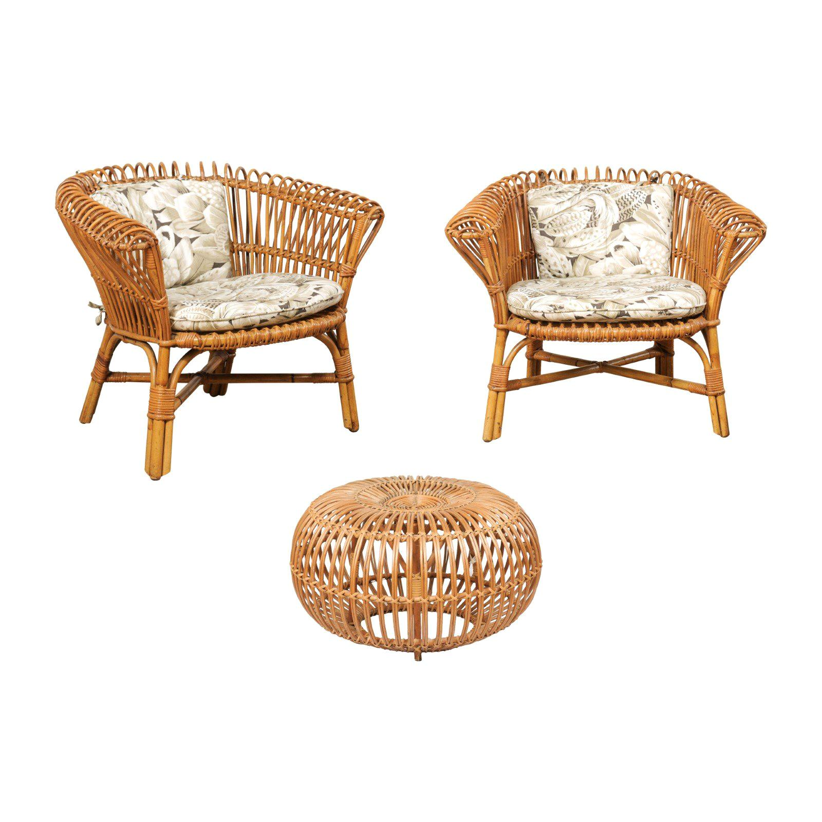 pair of vintage rattan chairs and ottoman patio set