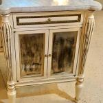 Pair White Painted Marble Top End Tables Distressed Mirrored Cabinets By Jansen