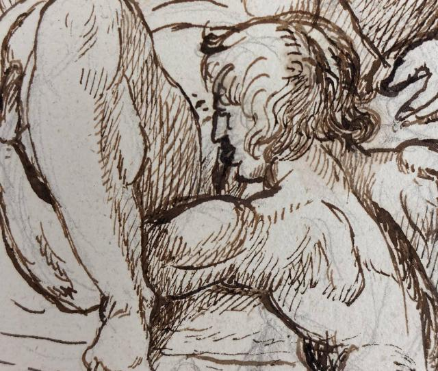 Neoclassical Rare 18th Century Erotic Scene Drawing Attributed To Tobias Sergel For Sale