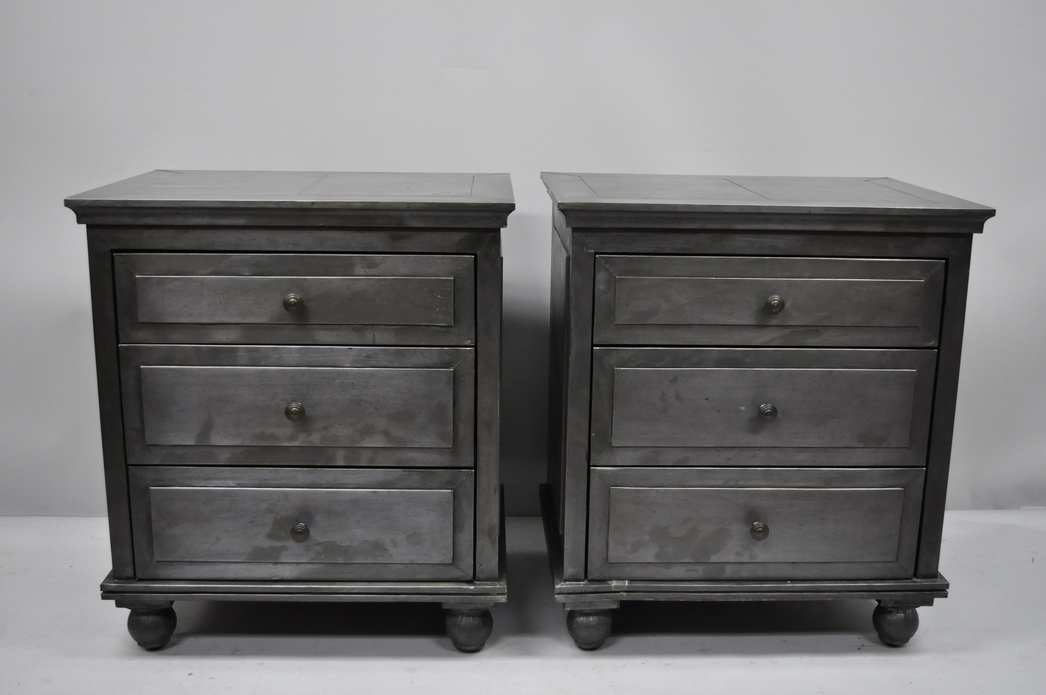 restoration hardware annecy metal wrapped pair of closed nightstands