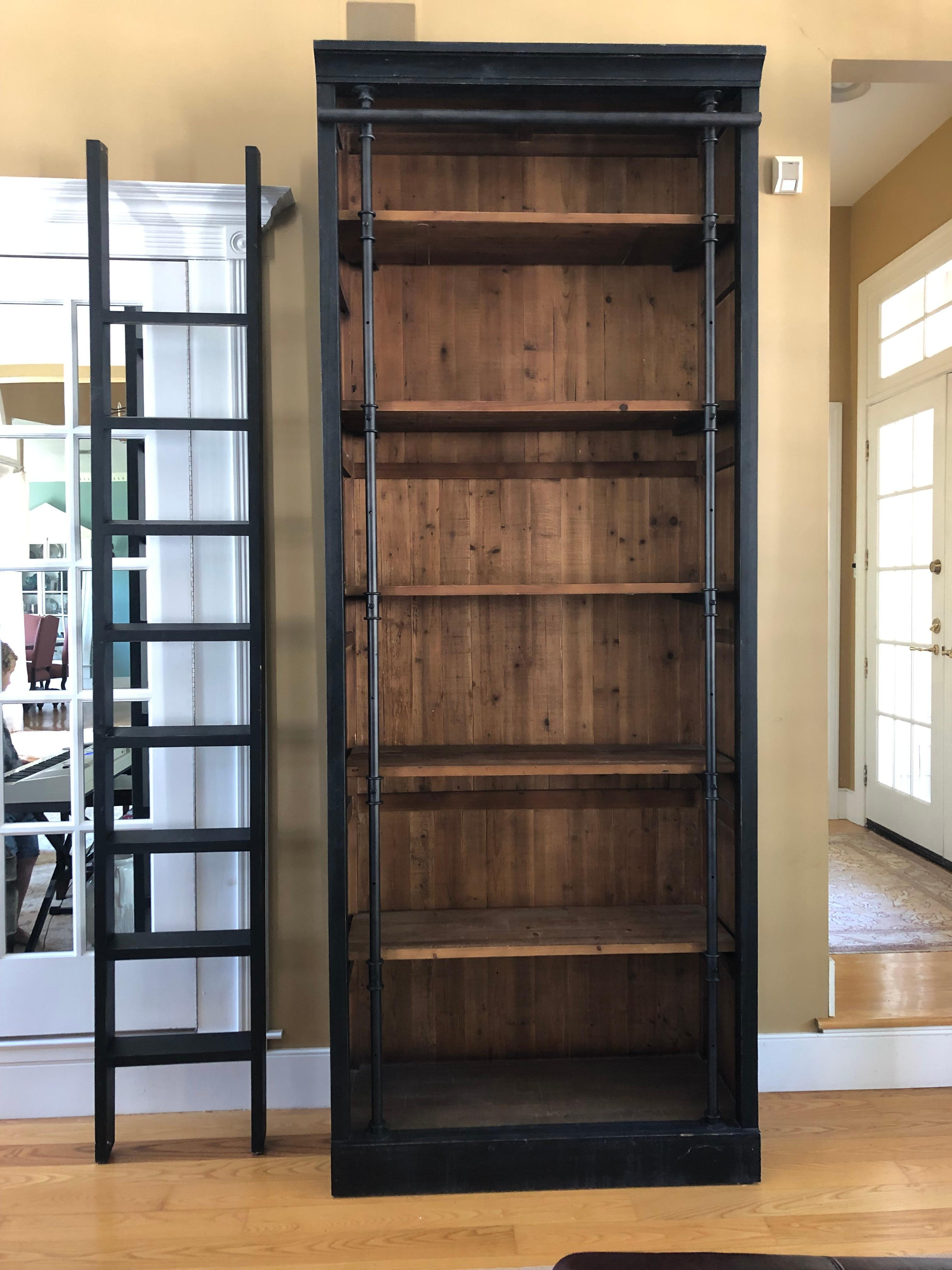 Rustic Chic Reclaimed Wood And Iron Black Bookcase With Ladder