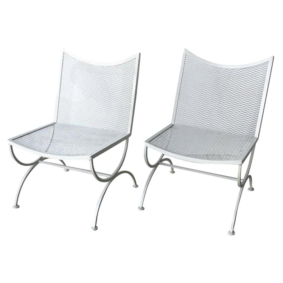 s 2 bob anderson newly enameled white wrought iron armless patio side chairs