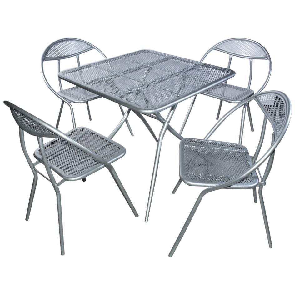salterini mid century modern folding metal patio or garden table and four chairs