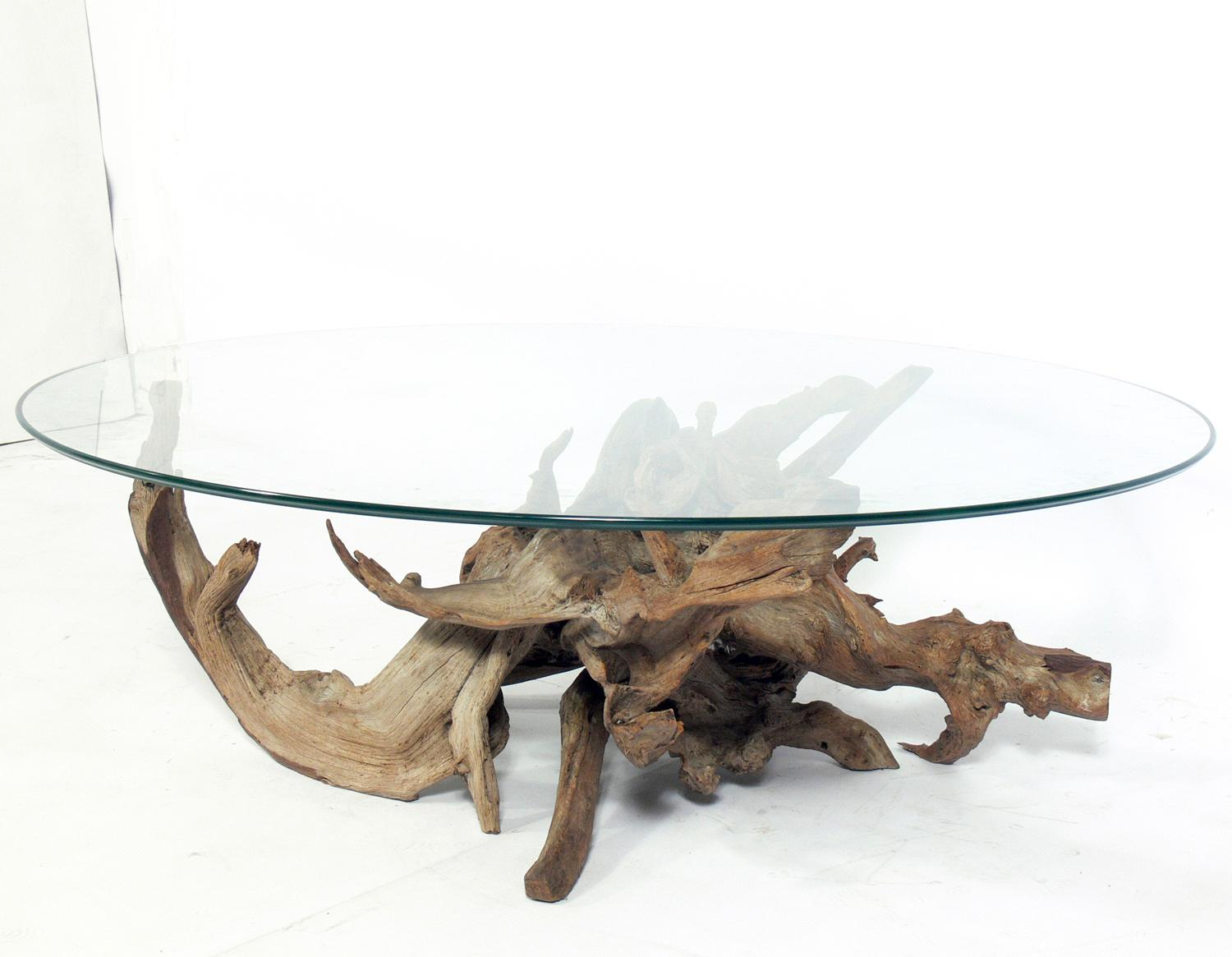 sculptural driftwood coffee table