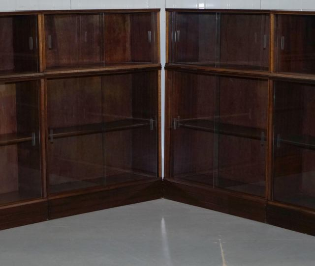 Mid Century Modern Set Of Four Modular Stacking Mahogany Library Bookcases Glass Doors Minty Globe