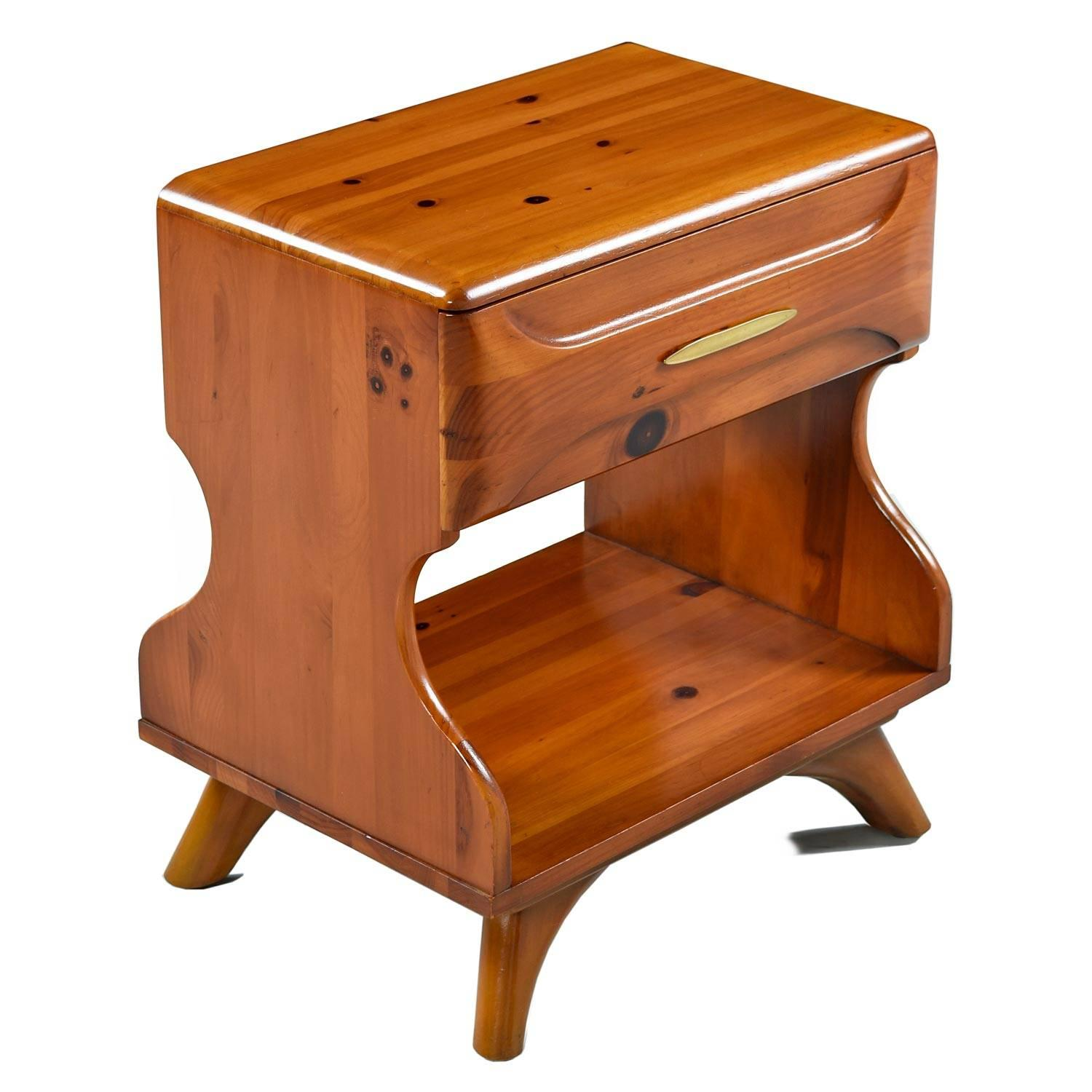 Solid Wood Sculptured Pine Nightstand End Tables By
