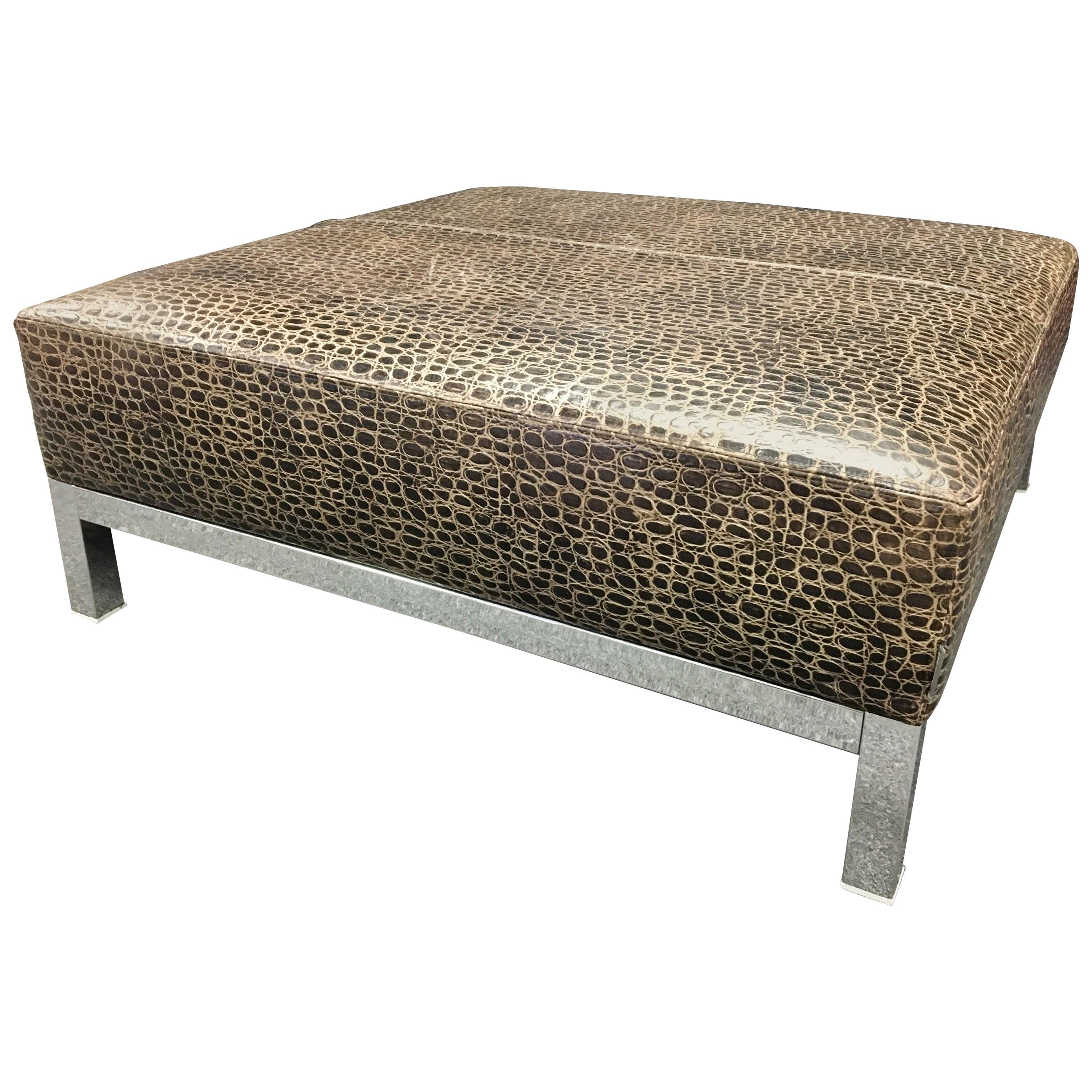 striking large patterned leather chrome base coffee ottoman table by minotti