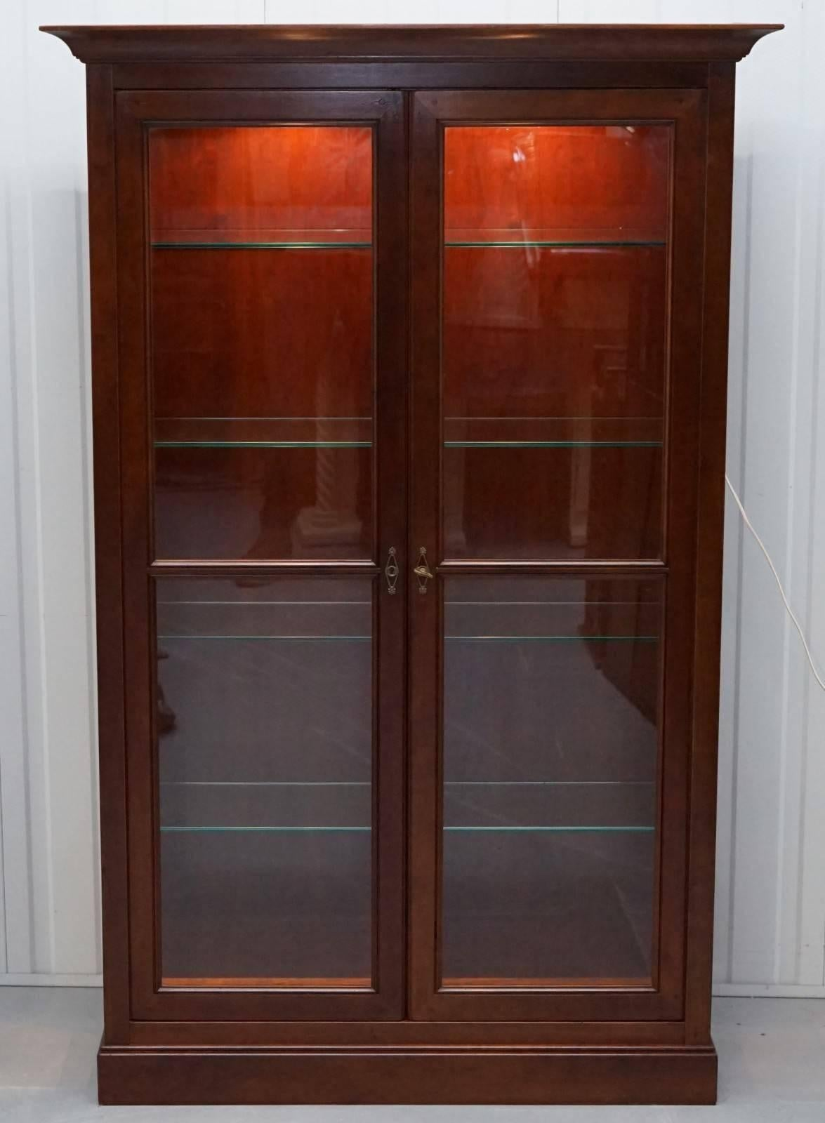 Stunning Grange Solid Cherry Wood Glass Display Cabinet With