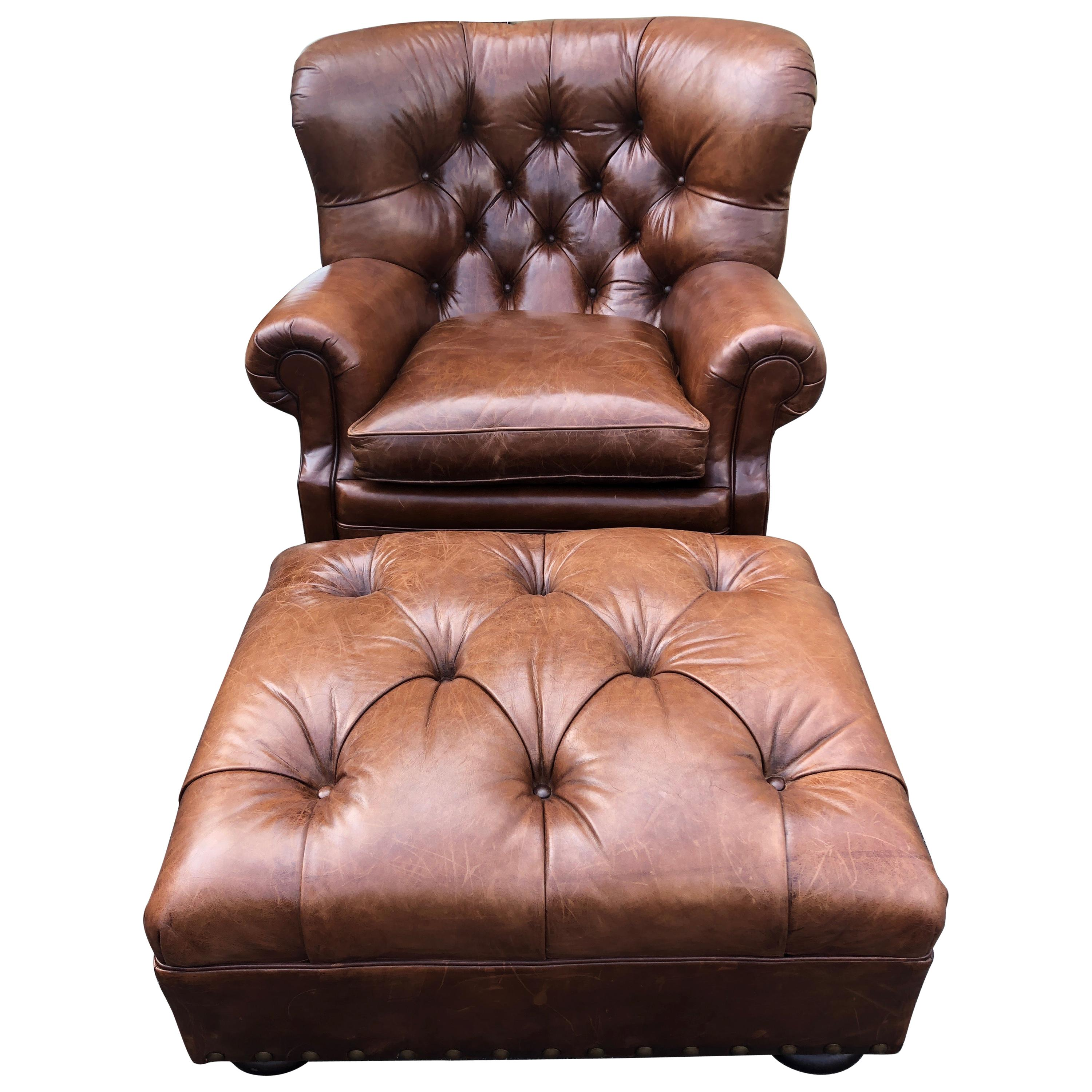 Ralph Lauren Writer S Chestnut Brown Leather Wingback Armchair And Ottoman Set