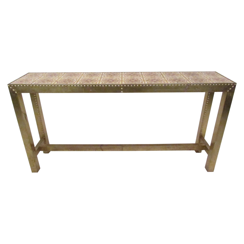 unique midcentury brass console table