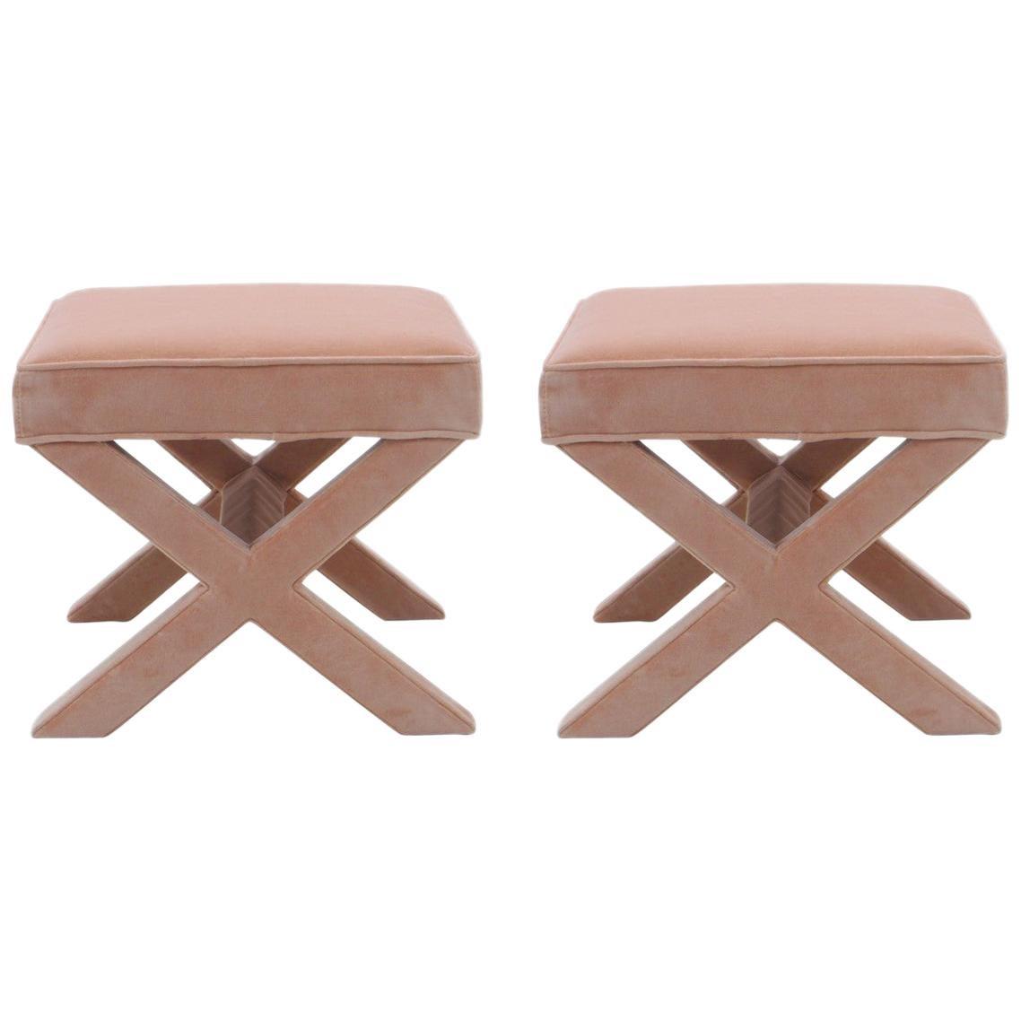 upholstered x bench in blush velvet