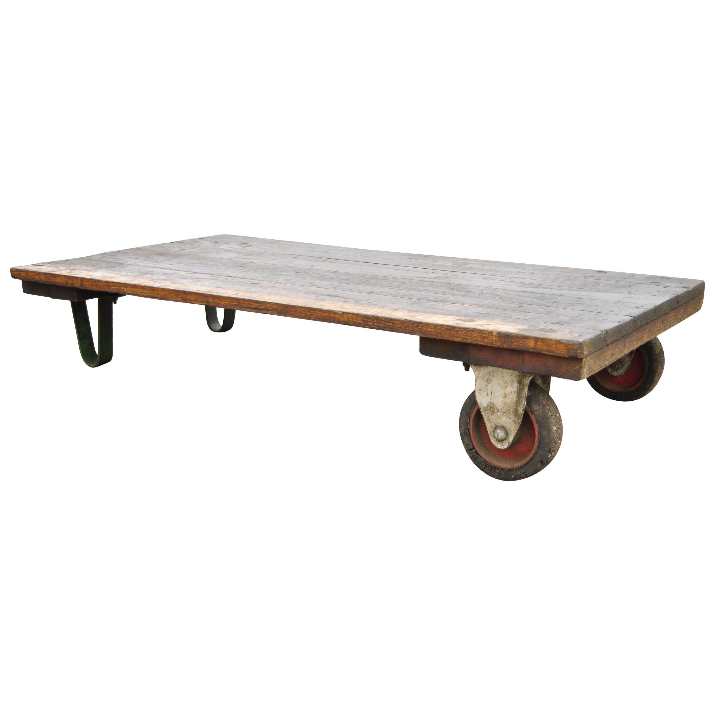 vintage fairbanks american industrial wood iron factory work cart coffee table