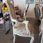 Vintage French Bergere Cowhide Upholstered Chairs Pair At