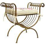 Vintage Italian Hollywood Regency Iron Gold Gilt Curule Vanity Bench Seat Chair At 1stdibs