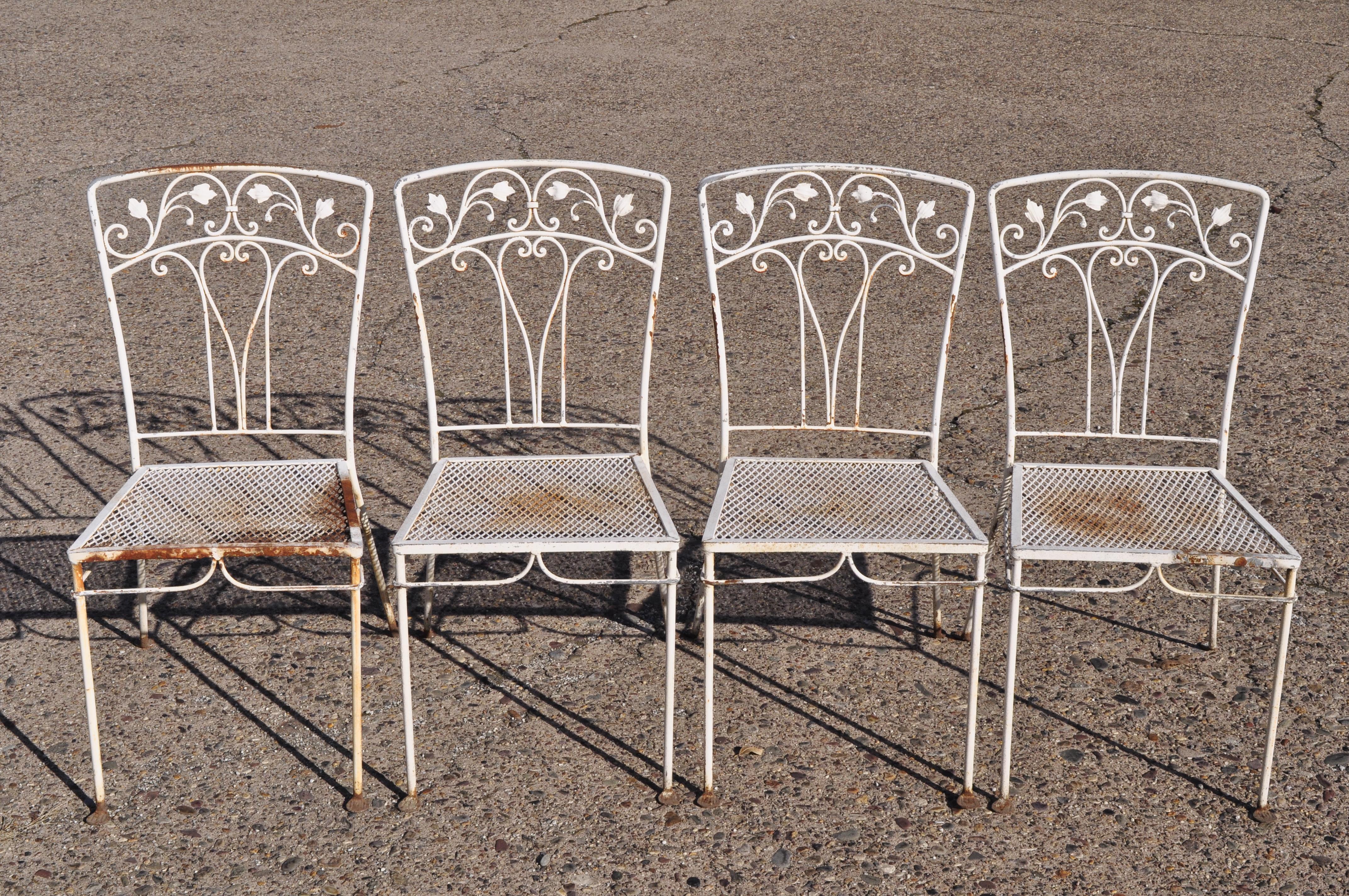 john salterini 5 piece leaf and vine wrought iron garden patio dining set