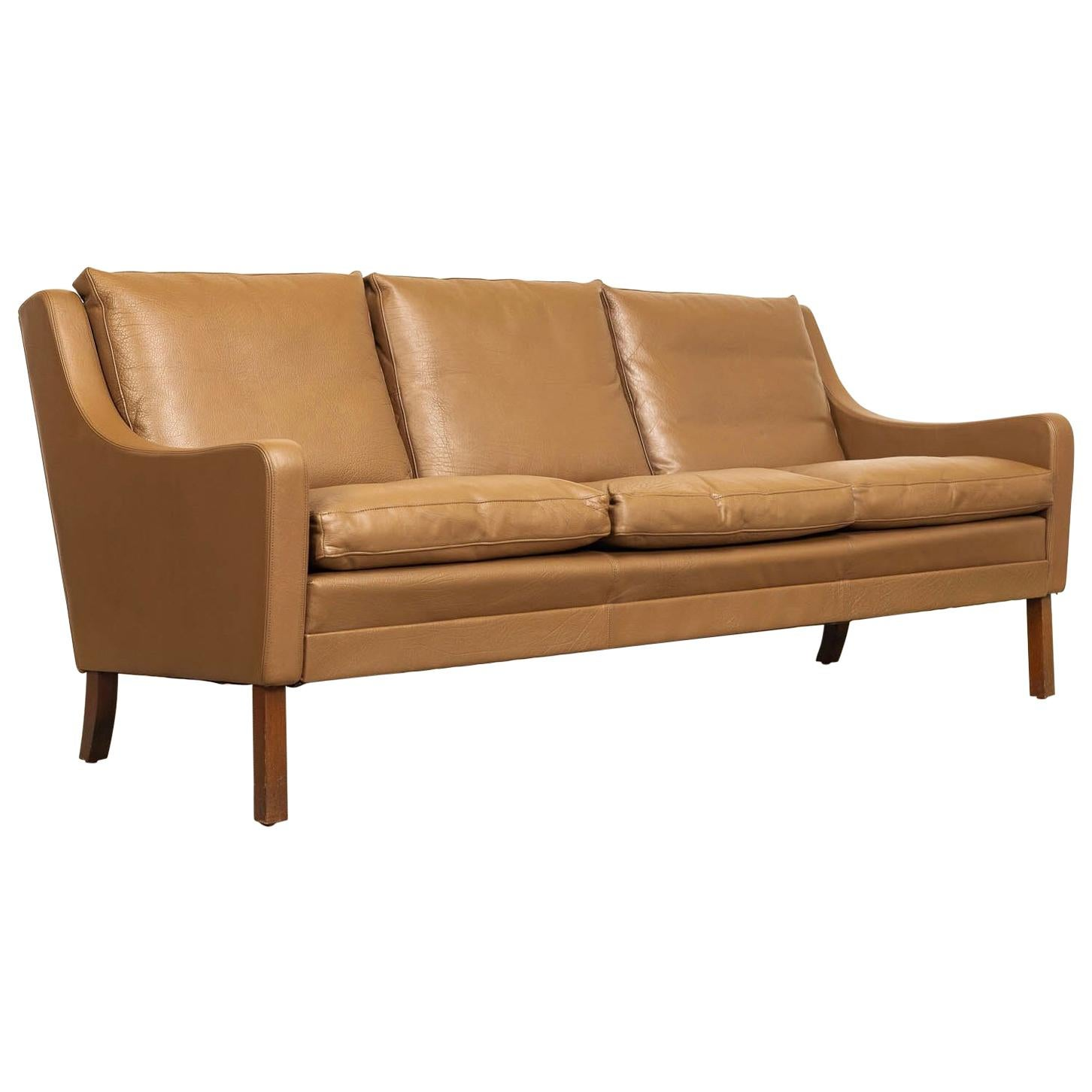 Vintage Midcentury Danish Modern Brown Leather Three Seat Sofa 1960s
