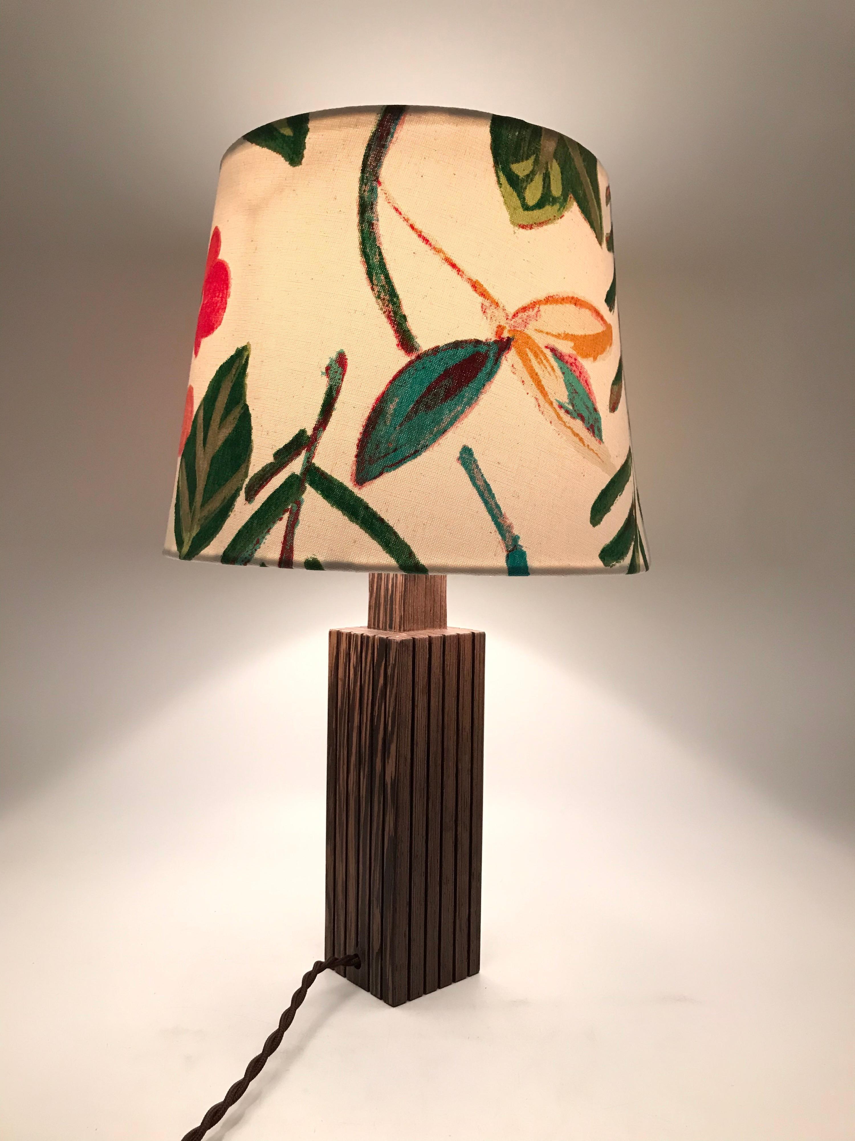 Vintage Mid Century Modern Mahogany Table Lamp With An Artbymay Lamp Shade For Sale At 1stdibs