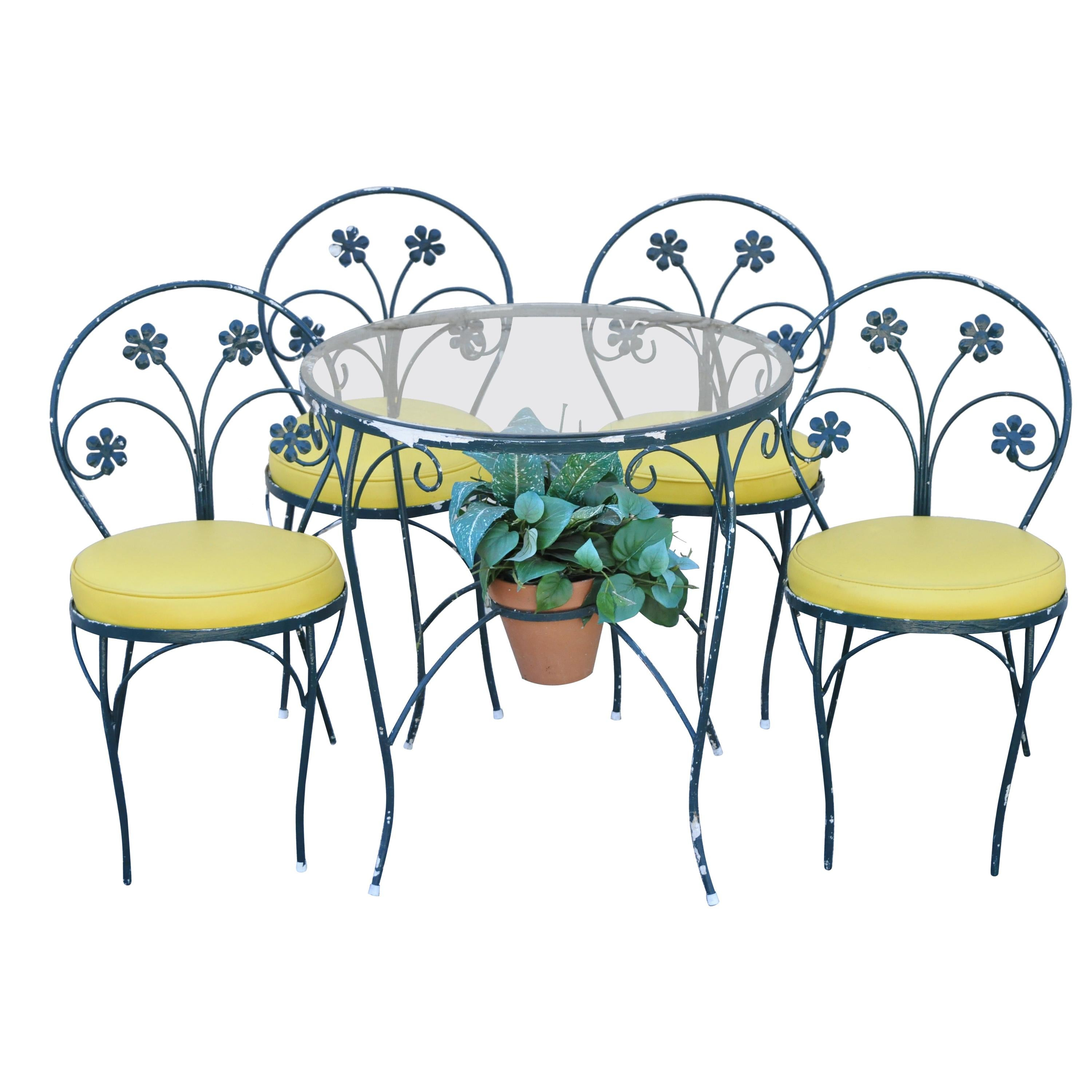 vintage plantation patterns iron daisy flower bistro dining set 4 chairs table