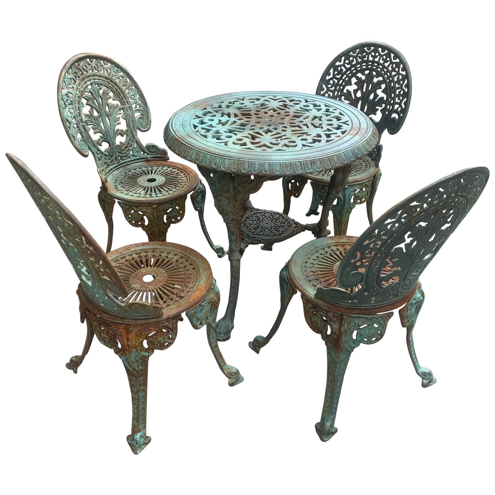 vintage victorian five piece cast iron outdoor patio set
