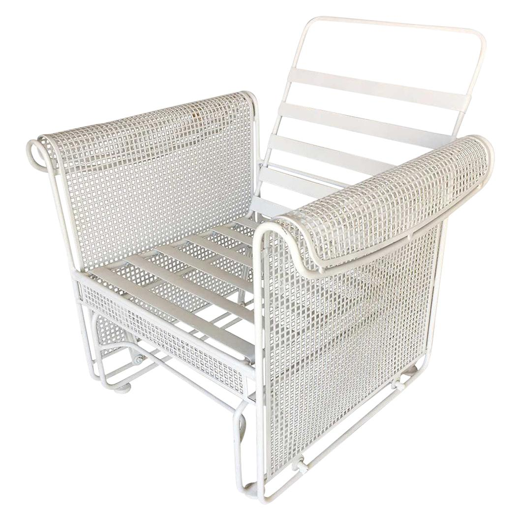 woodard mesh outdoor patio side glider rocking lounge chair