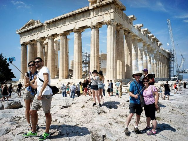 PHOTO: Tourists visit the Parthenon on June 30, 2015 in Athens, Greece.