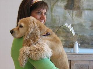 Cynthia Shackelford with her dog, Bailey.