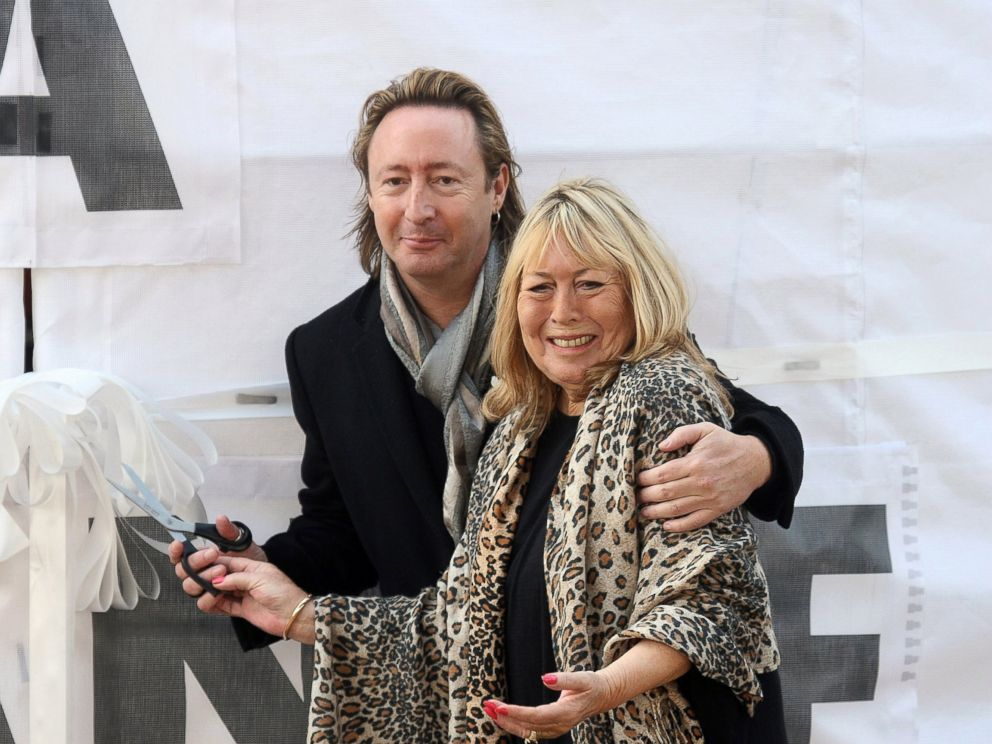 PHOTO: Julian Lennon and Cynthia Lennon, the son and first wife of John Lennon, attend the unveiling of the John Lennon monument Peace & Harmony at Chavasse Park, Oct. 9, 2010, in Liverpool, England.