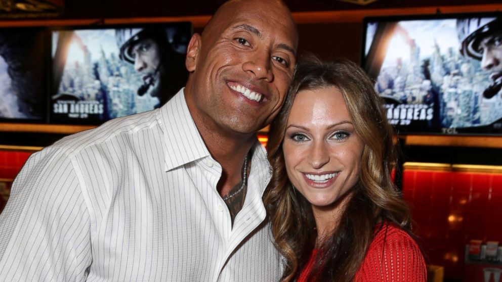 Image result for dwayne johnson kissing his girlfriend