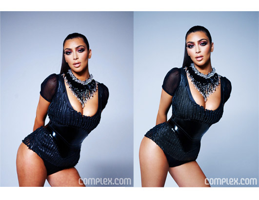 Kim Kardashians always championed her curvy figure. Recently, Kardashian fought back against photoshop allegations of her March 2009 Complex magazine photo spread, saying So what: I have a little cellulite. What curvy girl doesnt!? A before shot of Kardashian was featured on Complex.com for several hours, before the magazine replaced it with a Photoshopped version -- which cropped inches off the reality stars legs, whittled her waist and brightened her skin. (Complex magazine)