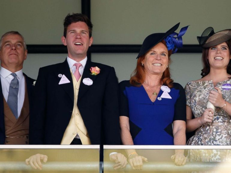 PHOTO: Prince Andrew, Duke of York, Jack Brooksbank, Sarah Ferguson, Duchess of York and Princess Eugenie watch the racing as they attend day 4 of Royal Ascot at Ascot Racecourse, June 19, 2015, in Ascot, England.