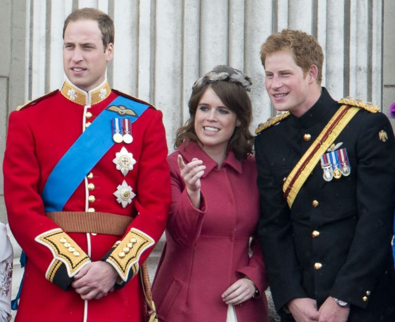 PHOTO: Prince William Duke Of Cambridge, Princess Eugenie and Prince Harry during Trooping The Colour, June 16, 2012, in London.