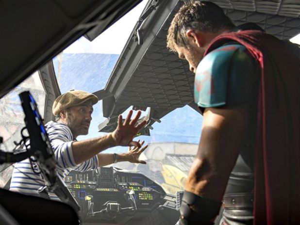 PHOTO: Director Taika Waititi, left, and actor Chris Hemsworth during filming of Thor: Ragnarok.