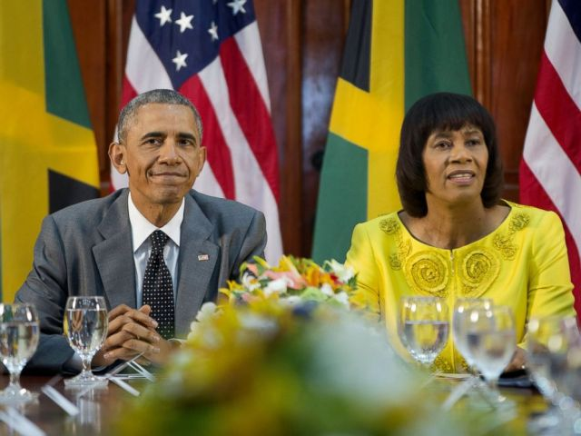 PHOTO: President Barack Obama and Jamaican Prime Minister Portia Simpson-Miller during their bilateral meeting at the Jamaica House, April 9, 2015, in Kingston, Jamaica.