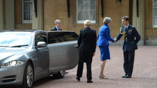 Image result for 9 june 2017 prime minister may of united kingdom car visiting buckham palace