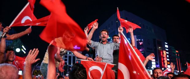 PHOTO: People react against military coup attempt, in Ankara, Turkey on July 16, 2016.