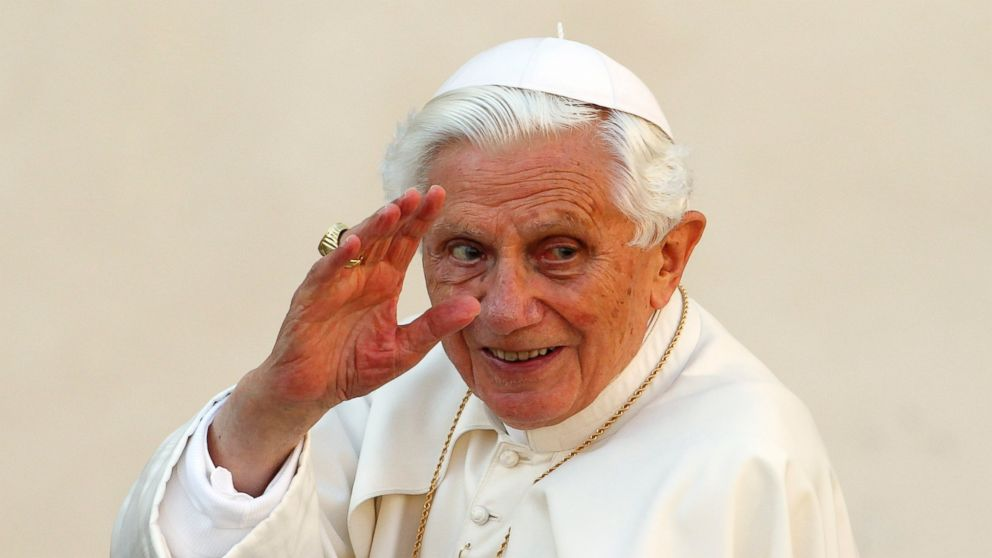 PHOTO: Pope Benedict XVI waves as he arrives to lead the general audience in Saint Peters square, at the Vatican, Oct. 24, 2012.