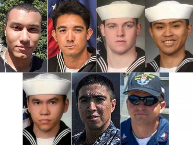 PHOTO: The seven U.S. sailors who died in a collision between the USS Fitzgerald and a container ship off Japan, June 17, 2017.