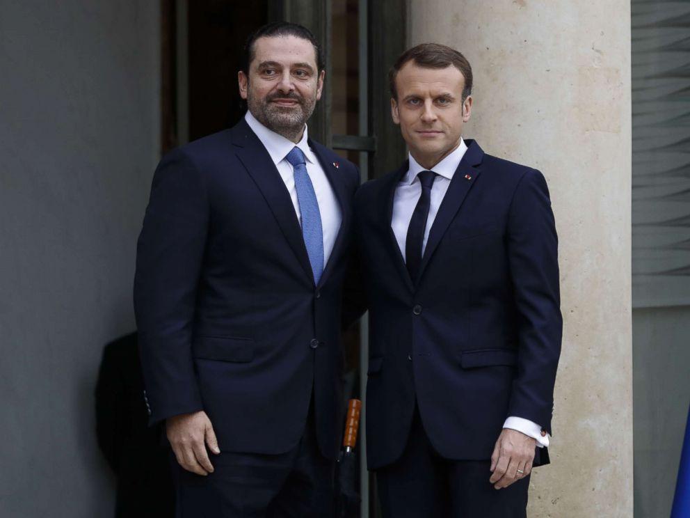 PHOTO: French President Emmanuel Macron welcomes Lebanese Prime Minister Saad Hariri at the Elysee Presidential Palace, Nov. 18, 2017 in Paris.