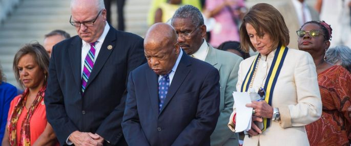 PHOTO: House Minority Leader Nancy Pelosi stands with Congressmen Joseph Crowley and John Lewis as they hold a moment of silence for the victims of the attack in Nice, France, on the West Front of the US Capitol in Washington, July 14, 2016.