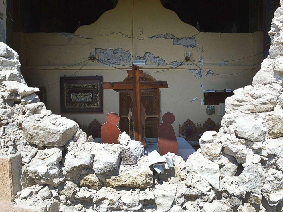 PHOTO: A damaged church is seen following an earthquake on the island of Kos, Greece, July 21, 2017.