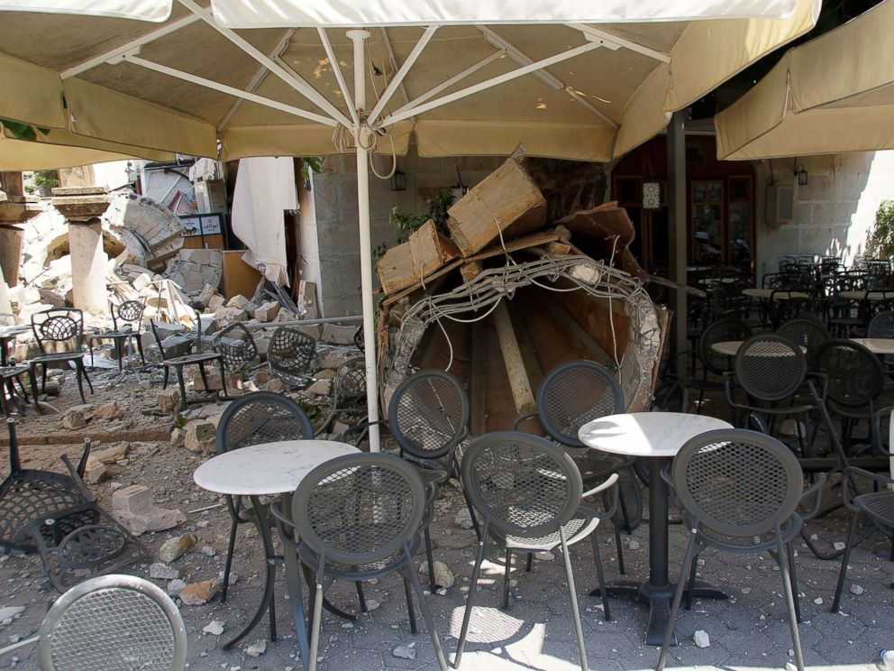 PHOTO: The broken quay wall is raised by several inches in the harbour after an earthquake in Kos, on the island of Kos, July 21, 2017, in Greece.